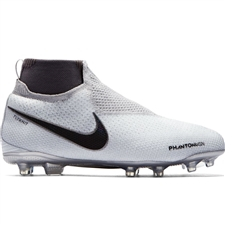 Nike Youth Phantom Vision Elite DF FG/MG Soccer Cleats (Pure Platinum/Black/Light Crimson/Dark Grey)