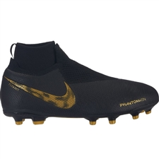 Nike Youth Phantom Vision Elite DF FG/MG Soccer Cleats (Black/Metallic Vivid Gold)