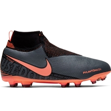 Nike Youth Phantom Vision Elite DF MG Soccer Cleats (Dark Grey/Bright Mango/Black)