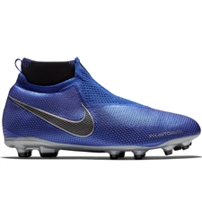 Nike Youth Phantom Vision Elite DF FG/MG Soccer Cleats (Racer Blue/Metallic Silver/Black/Volt)