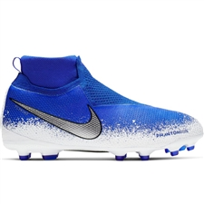 Nike Youth Phantom Vision Elite DF MG Soccer Cleats (Racer Blue/Chrome/White)