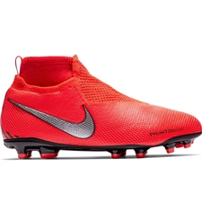 Nike Youth Phantom Vision Elite DF FG/MG Soccer Cleats (Bright Crimson/Metallic Silver)
