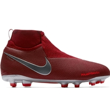Nike Youth Phantom Vision Elite DF FG/MG Soccer Cleats (Team Red/Metallic Dark Grey/Bright Crimson)