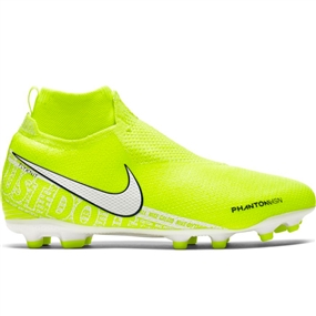 Nike Youth Phantom Vision Elite DF MG Soccer Cleats (Volt/White/Barley Volt)