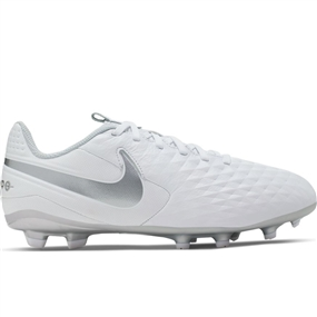 Nike Youth Legend 8 Academy MG Soccer Cleats (White/Chrome/Pure Platinum)