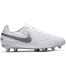 Nike Youth Legend 8 Club MG Soccer Cleats (White/Chrome/Pure Platinum/Wolf Grey)