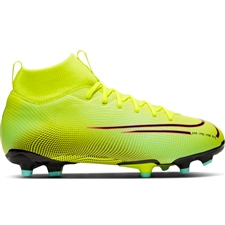 Nike Youth Mercurial Superfly 7 Academy MDS MG Soccer Cleats (Lemon Venom/Black/Aurora Green)