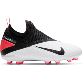 Nike Youth Phantom Vision 2 Academy DF MG Soccer Cleats (White/Black/Laser Crimson)