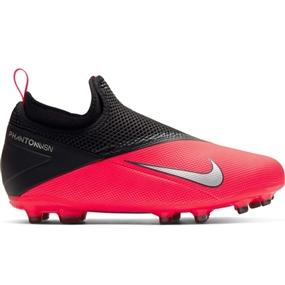 Nike Youth Phantom Vision 2 Academy DF MG Soccer Cleats (Laser Crimson/Silver Metallic/Black)