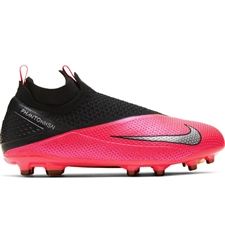Nike Youth Phantom Vision 2 Elite DF MG Soccer Cleats (Laser Crimson/Metallic Silver/Black)