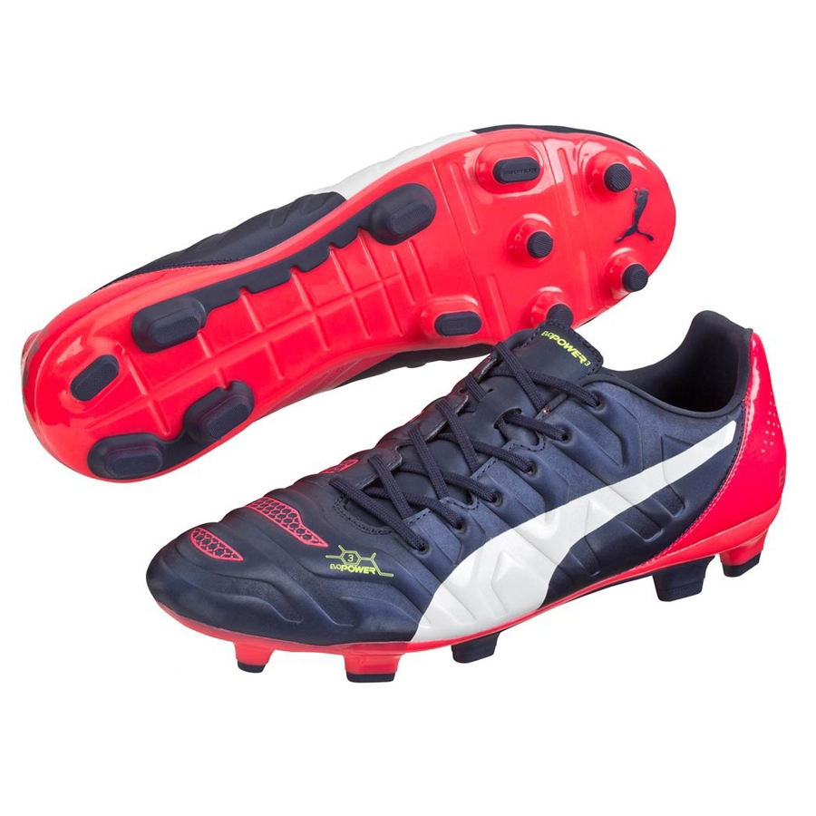Puma evoPOWER 3.2 Youth FG Soccer Cleats (PeacoatWhiteBright Plasma)