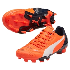 Puma evoPOWER 4.2 Youth FG Soccer Cleats (Lava Blast/White/Total Eclipse)