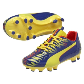 Puma Falcao 9 Youth FG Soccer Cleats (Clematis Blue/Vibrant Yellow/Poppy Red)