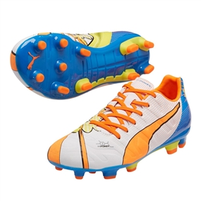 Puma evoPOWER 3.2 Youth Graphic Pop FG Soccer Cleats (White/Orange Clownfish/Electric Blue Lemonade)