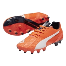 Puma evoSPEED 1.4 Youth FG Soccer Cleats (Lava Blast/White/Total Eclipse)