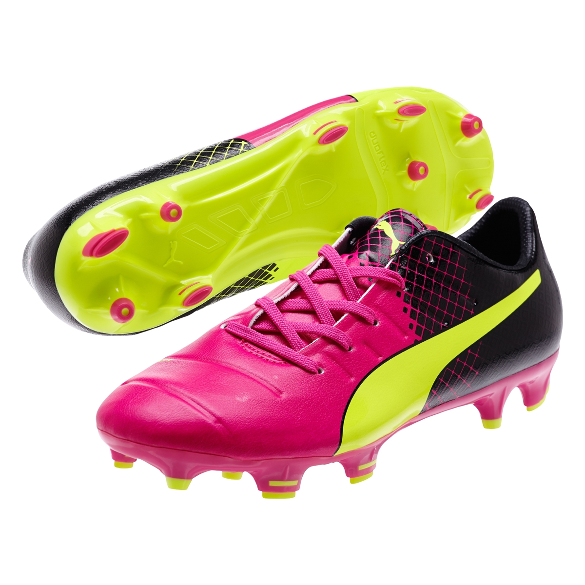 Puma evoPOWER 1.3 Tricks Youth FG Soccer Cleats (Pink Glo/Safety  Yellow/Black