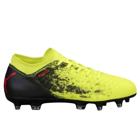 Puma Youth Future 18.4 FG Soccer Cleats (Fizzy Yellow/Red Blast/Puma Black)