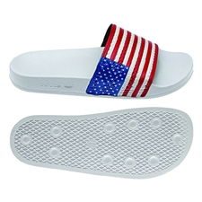 Adidas USA Adilette Flags Sandal (Running White/Collegiate Royal/Collegiate Red)