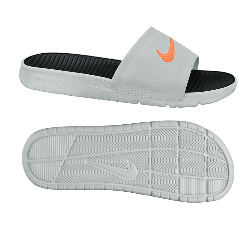 0c83ffbe065da0 Nike Men s Benassi Solarsoft Soccer Sandal (Grey Orange Black)