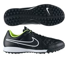 Nike Tiempo Genio Soccer Turf Shoes (Black/Volt/White)