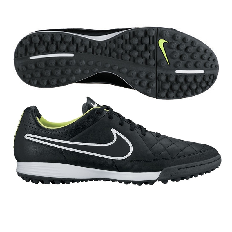 Nike Tiempo Legacy Soccer Turf Shoes (Black/Volt/White)