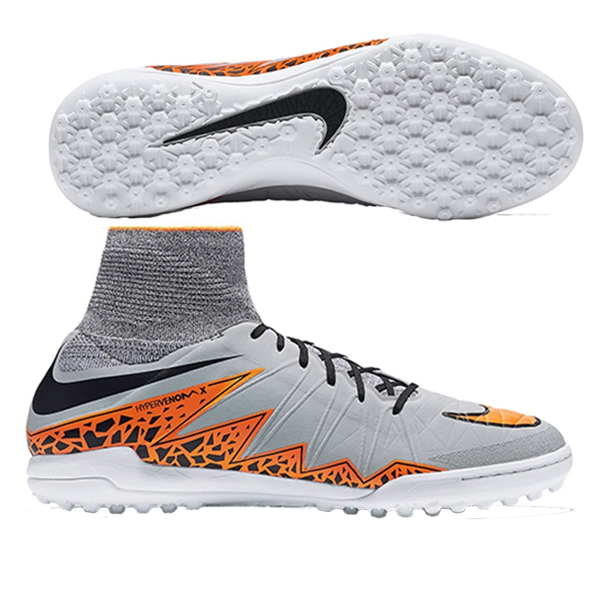 Nike HypervenomX Proximo II IC Indoor/Court Soccer Shoes - Wolf Grey/Total Orange for Men E92u9384