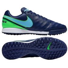 Nike TiempoX Genio II TF Turf Soccer Shoes (Coastal Blue/Polarized Blue/Rage Green)