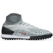 Nike MagistaX Proximo II DF TF Turf Soccer Shoes (Cool Grey/Varsity Red/Black/Wolf Grey)