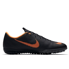 Nike Mercurial VaporX XII Academy TF Turf Soccer Shoes (Black/Total Orange/White)