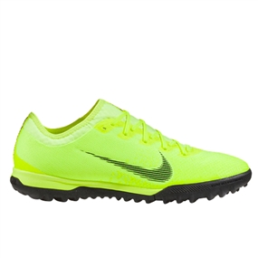 Nike VaporX 12 Pro TF Turf Soccer Shoes (Volt/Black)