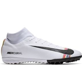 Nike SuperflyX 6 Academy TF Turf Soccer Shoes (White/Black/Pure Platinum)