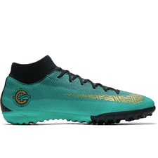 Nike SuperflyX VI Academy CR7 TF Turf Soccer Shoes (Clear Jade/Metallic Vivid Gold/Black)