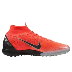 Nike SuperflyX VI Elite CR7 TF Turf Soccer Shoes (Flash Crimson/Black/Chrome/Dark Grey)