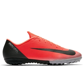 Nike VaporX 12 Academy CR7 TF Turf Soccer Shoes (Bright Crimson/Black/Chrome/Dark Grey)