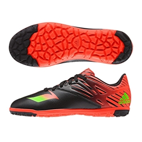Adidas Youth Messi 15.3 Turf Soccer Shoes (Black/Solar Green/Solar Red)