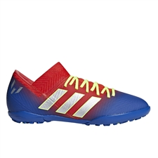 Adidas Nemeziz Messi Tango 18.3 Youth Turf Soccer Shoes (Active Red/Silver Metallic/Football Blue) | Adidas Turf Shoes