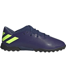 Adidas Youth Nemeziz Messi 19.3 TF Turf Soccer Shoes (Tech Indigo/Signal Green/Glory Purple)