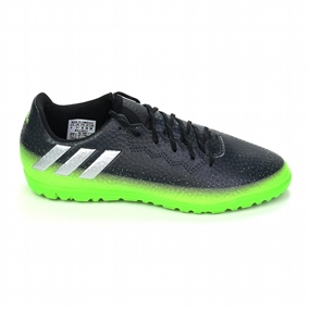 Adidas Youth Messi 16.3 Turf Soccer Shoes (Dark Grey/Silver Metallic/Slime Green)
