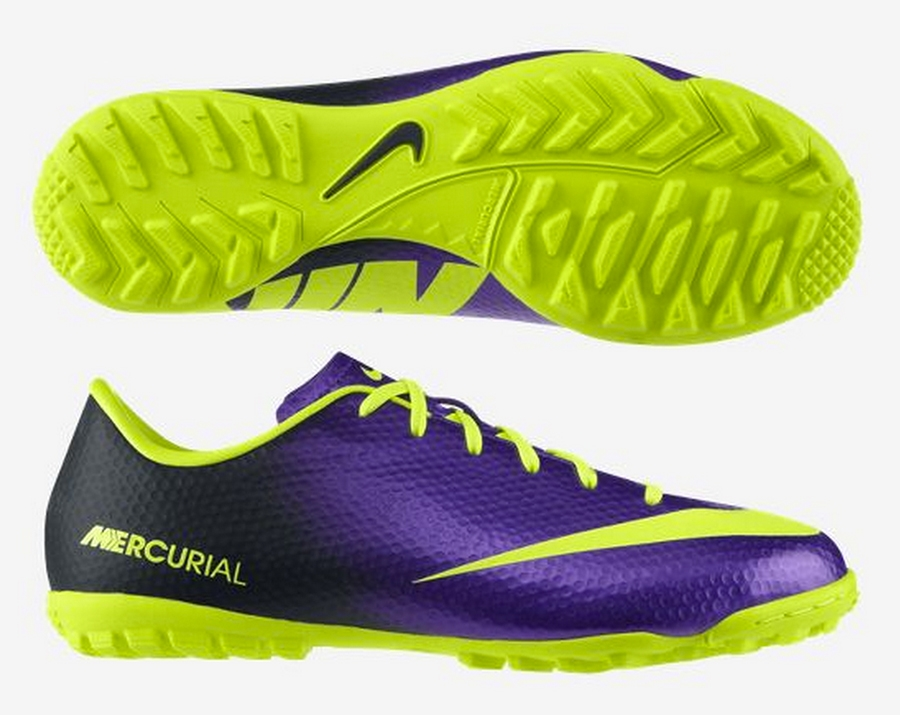Nike Youth Mercurial Victory IV Turf Soccer Shoes (Purple/Volt)