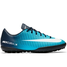 Nike Youth MercurialX Vapor XI Turf Soccer Shoes (Obsidian/White/Gamma Blue)