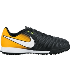 Nike Youth TiempoX Ligera IV TF Turf Soccer Shoes (Black/White/Laser Orange/Volt)