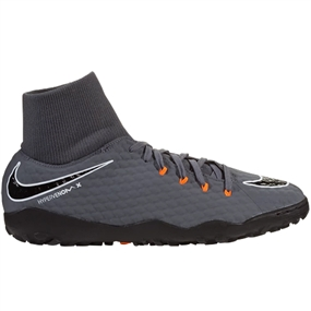 Nike Youth Hypervenom PhantomX III Academy DF TF Turf Soccer Shoes (Dark Grey/Total Orange/White)