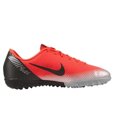 Nike Youth VaporX 12 Academy CR7 TF Turf Soccer Shoes (Bright Crimson/Black/Chrome/Dark Grey)