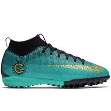 Nike Youth SuperflyX VI Academy CR7 TF Turf Soccer Shoes (Clear Jade/Metallic Vivid Gold/Black)