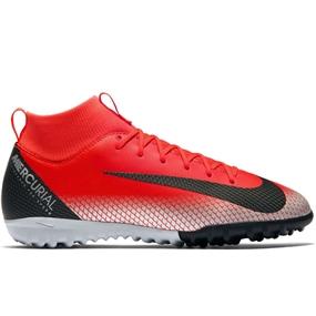 Nike Youth SuperflyX VI Academy CR7 TF Turf Soccer Shoes (Bright Crimson/Black/Chrome/Dark Grey)