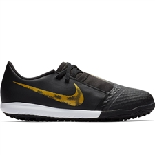 Nike Youth Phantom Venom Academy TF Turf Soccer Shoes (Black/Metallic Vivid Gold)