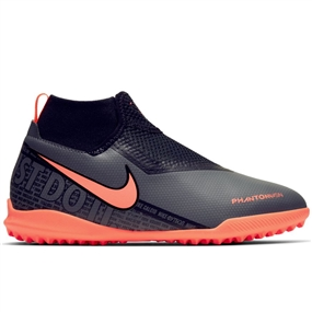 Nike Youth Phantom Vision Academy DF TF Turf Soccer Shoes (Bright Mango/White/Orange Pulse)