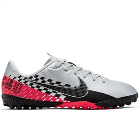 Nike Youth Neymar Vapor 13 Academy TF Turf Soccer Shoes (Chrome/Black/Red Orbit/Platinum Tint)