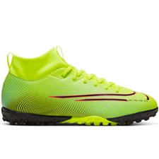 Nike Youth Mercurial Superfly 7 Academy MDS TF Turf Soccer Shoes (Lemon Venom/Black/Aurora Green)