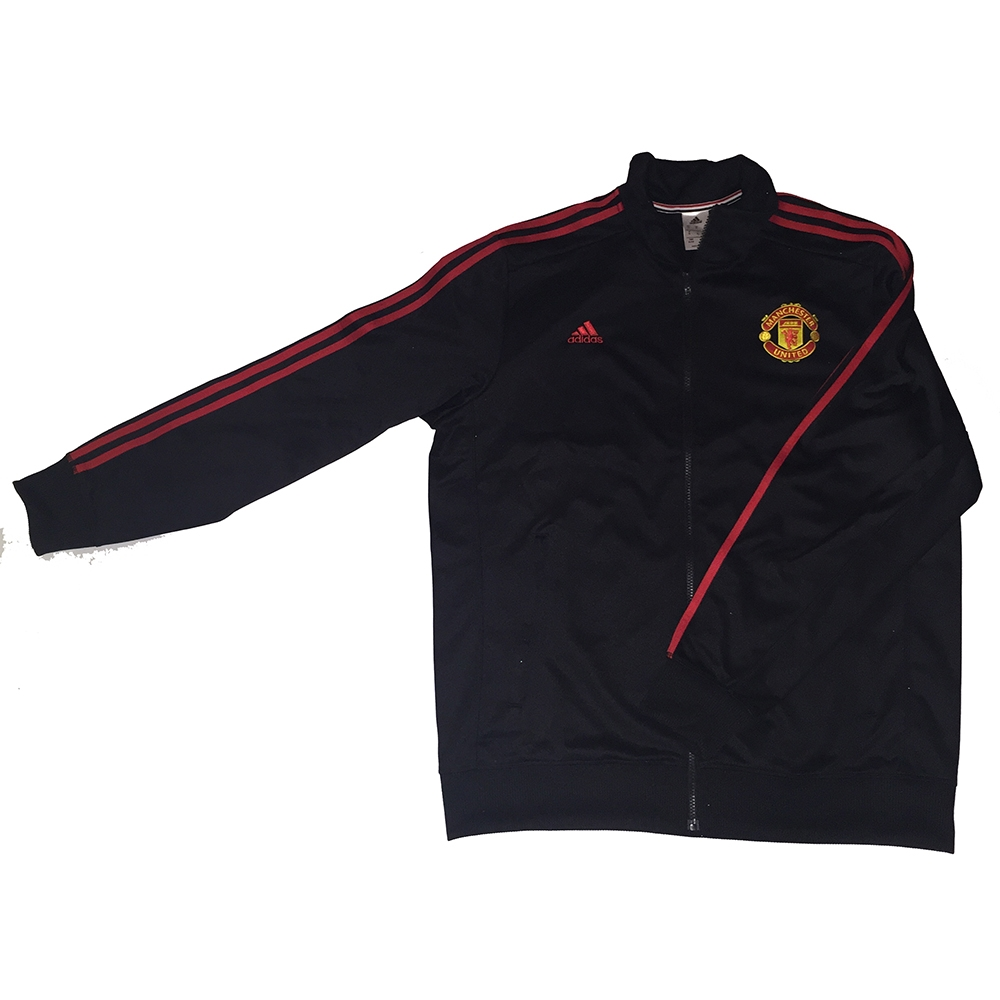 67 49 Adidas Manchester United 3 Stripes Track Jacket Black Red
